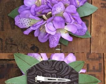 "Purple Floral Fascinator, Lilac Hair Clip, Lavender Flower Headpiece, Vintage Hair Flower, Purple Wedding Hair 1950s - ""Sunbeam & Shadow"""