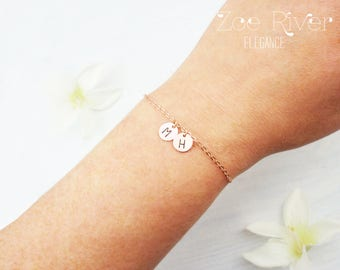 Choose colour, rose gold, silver or gold personalized initial disc bracelet. Elegant dainty initial bracelet