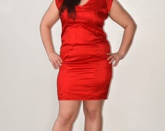 red silk cocktail dress size 14