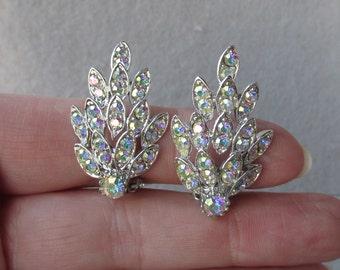 1960's Vintage Brilliant Aurora Borealis Rhinestone Rhodium Plated LEAF Clip Earrings