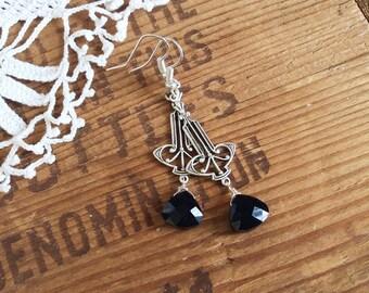 Classic Black Art Deco Earrings - silver earrings earrings earrings sterling earrings drop earrings
