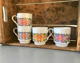 vintage Bavaria Schumann Arzberg abstract butterfly mugs porcelain Germany set of 4
