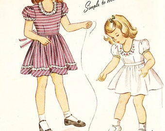 Simplicity 4941 Girl's Vintage 1940s Dress and Panties with Flower Embroidery Transfer Sewing Pattern