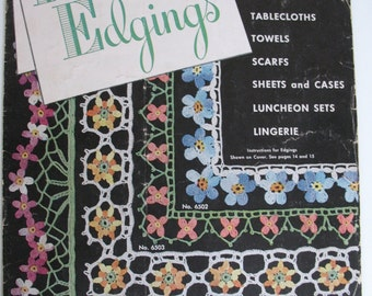 Flower Edgings Vintage Crochet Booklet Star Book No 65 American Thread Company 1949 Borders Trim Lace Instructions Illustrations