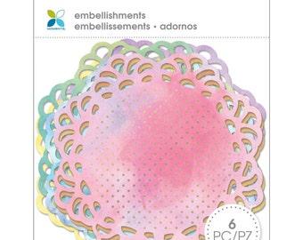 "Momenta 4"" Doily Embellishments Watercolor Valentines"
