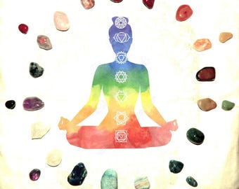 PERSONALIZED Chakra Set 8-9 gemstone set - many sizes, hand-picked natural stone - Reiki Wicca Pagan Energy-work Tool