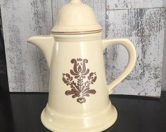 Pfaltzgraff Coffee Pot - Vintage Pfaltzgraff - Village Pattern Pfaltzgraff - Coffee Tea Server - 1980s Stoneware - Creamy Yellow Brown