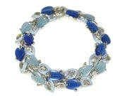 1960s Two Tone Blue Thermoset Leaf Bracelet
