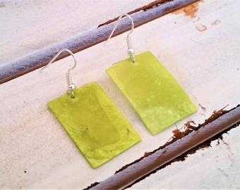 Lime green shell earrings - rectangular earrings - green shell jewelry - green shell dangling earrings - lime rectangular earrings