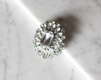 1980s glass diamond brooch // rhinestone brooch // vintage brooch