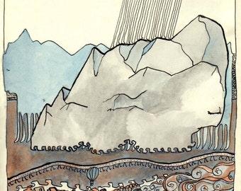 BRIEFKAART van originele tekening / kunst met fantasierijke berg scène, gletsjer en een meer. Allemaal met eigenzinnige benen, voor degenen die blijven bewegen.