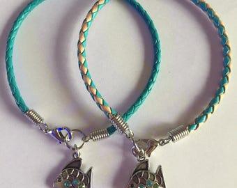 Jeweled Fish Braided Leather Charm Bracelet