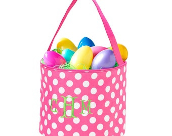 Pink Dot Bucket Tote, Personalized Easter Basket, Personalized Bucket Tote, Monogram Easter Basket, Kids Personalized Easter Basket