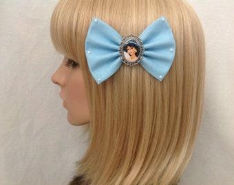 Princess Jasmine Aladdin hair bow clip rockabilly psychobilly disney kawaii kitsch pin up fabric blue pearls pretty cute ladies girls women