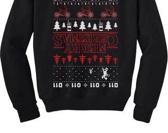 Merry Christmas The Upside Down Ugly Christmas Youth Crewneck Sweatshirt