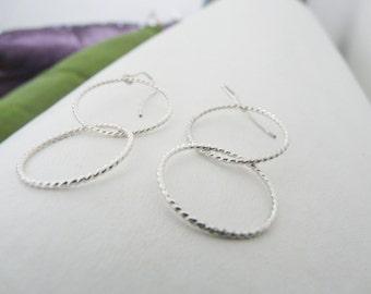 Sterling Silver Earrings//Double Rope Earrings//Women Earrings//Handmade Jewelry//Fall Jewelry//Gifts For Her//Under 30