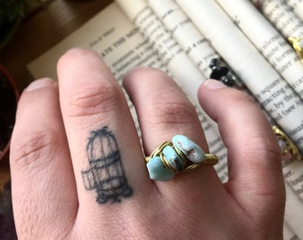 Wire wrapped LARIMAR hammered copper ring with BRASS wire