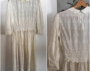 Edwardian Day Dress Ornate Embroidered Lace Re-Fashioned
