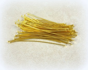 """Headpins - Gold Headpins - 2"""" Golden Brass Head Pins - Gold Plated Head Pins (hp5.0m-AB) - Select Qty. from Options"""