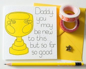 New Daddy handmade greeting Card, First Father's Day Card, Dad Birthday Card, First time dad card, New Daddy card, From Son or Daughter card