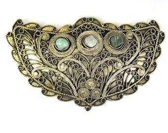 Ethnic Tibetan Brass Pendant with Gemstone Inlays