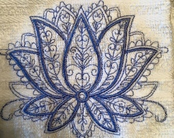 Embroidered Lotus Hanging Kitchen Towel ~White/Blue