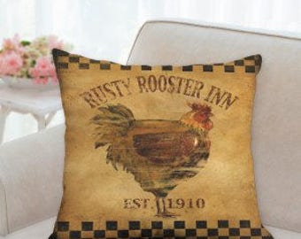 Rustic Country Rusty Rooster Inn Pillow