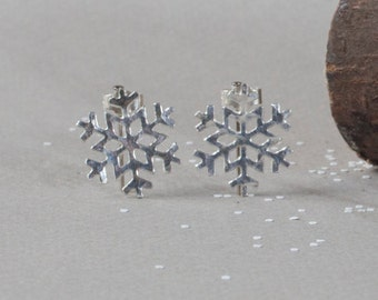 Snowflake Studs - Silver - Earrings - Winter - Christmas - Gift for Her - Stocking Filler