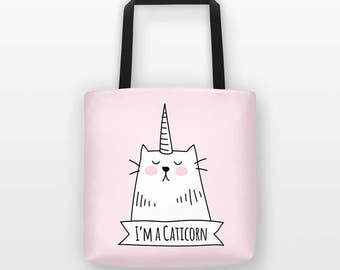 Caticorn Cat Tote Bag Cat Bag, Unicorn Tote Bag, Cute Funny Tote Bag, Unique Gift for Her, Cat Lover Gift, Reusable Grocery Bag Shopping Bag