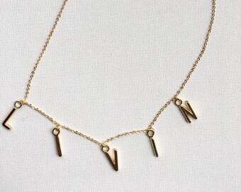 CUSTOM 1-5 Letter Necklace // Custom Word Necklace // Gold Custom Necklace // Personalized Necklace