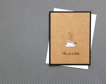 I like you a latte, Thinking of You Cards, Just Because,  Hello Coffee Card, Punny Cards, Set of 6