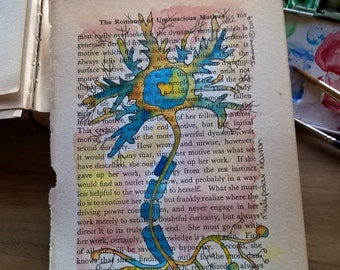 Multipolar neuron in blue and yellow hues - watercolour and ink on vintage psychology book page