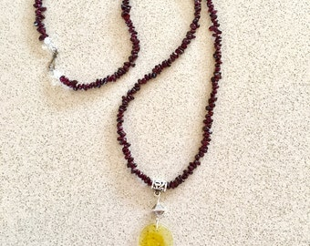 GARNET KUAN YIN 79.5m long crystal necklace