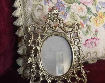 French Country Ornate Filigree Regency Brass Picture Frame