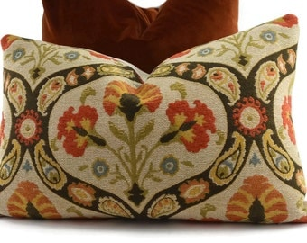 Orange, Brown, Gold, Green & Beige Chenille Medallion Lumbar Throw Pillow Cover, 14x22, Orange Paisley Chenille Pillow Cover