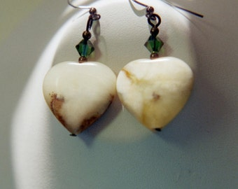 Agate heart earrings with Swarovski crystals