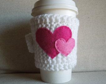 Heart Coffee Cozy, Mug Sweater, Coffee Sleeve, Mug Cozy / Pink White