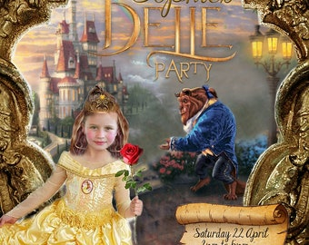 Belle (Beauty & the Beast) Party Printable Invitation - with Photo