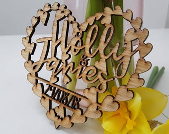 Laser cut save the date wooden heart wedding invite