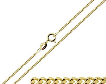 """9ct Gold Plated on Sterling Silver 1.6mm Diamond Cut Curb Chain 16"""" 18"""" 20"""" 22"""" 24"""" Inch"""