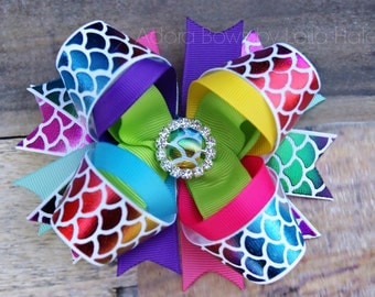 Made to order gorgeous rainbow mermaid scales OTT over the top stacked boutique hair bow girls hairbow cheer bow dance bow hair clip clippie