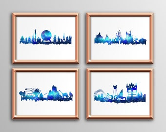 Galaxy Watercolor Florida Theme Parks Skylines 4 Pack: Hollywood Studios, Magic Kingdom, EPCOT and Animal Kingdom