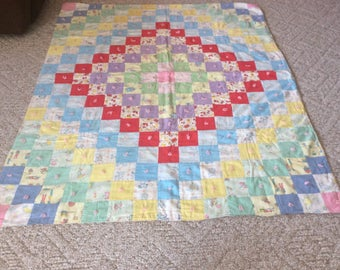 Antique Vintage Baby Quilt Children's Print Crib Patchwork Blanket