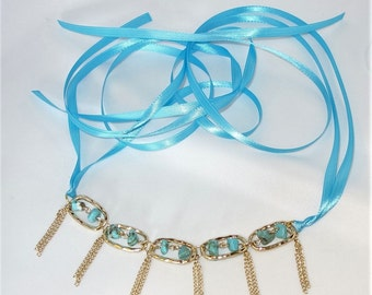 Tasselled Faux Turquoise Stone Choker Ribbon Necklace Under The Hoode Intimate Jewelry and Gifts