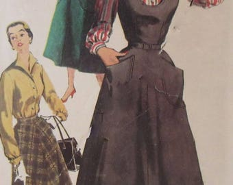 Vintage 1950s  Simplicity Women's Jumper, Blouse and Skirt: Sewing Pattern #4802 Size 16