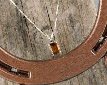 Sterling Silver Pendant/Necklace-Madeira Citrine Pendant/Necklace - Sterling Silver Setting with an 8mm x 6mm Madeira Citrine Stone