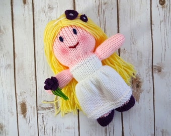 Blonde Bride Doll with Dark Blue Eyes, Purple Shoes and Flowers, Handmade Knit Dolly, Soft Plush Toy, Flower Girl Gift