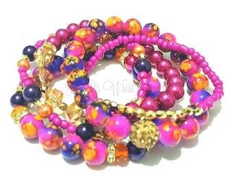 Orange, Fuschia, Purple,Pink, Gold Beaded Bracelet Set, Stretchy, Colorful, Stack, Womens Jewelry, Custom Handmade Beaded Jewelry