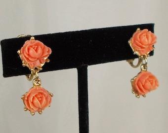 Vintage Carved Coral Roses Screw Back Earrings  2823