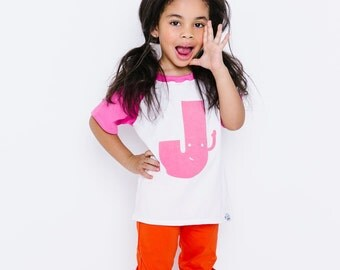 Classic Collection! Pink Alphabet Raglan | CHOOSE Your Letter A-Z